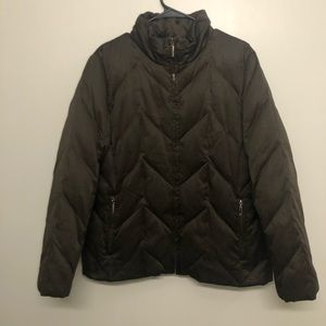 New York& company down filled puffer jacket brown